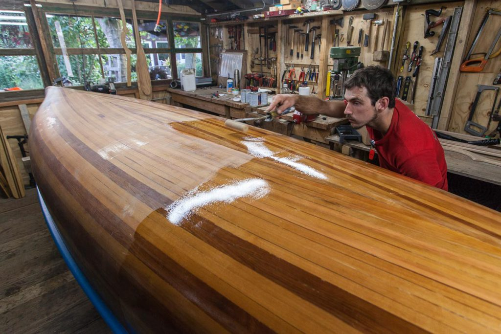A wood strip canoe in need of revivification