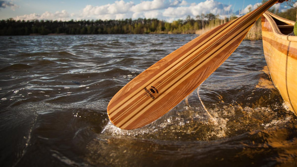 Bever tail wooden paddle by Freeranger Canoe