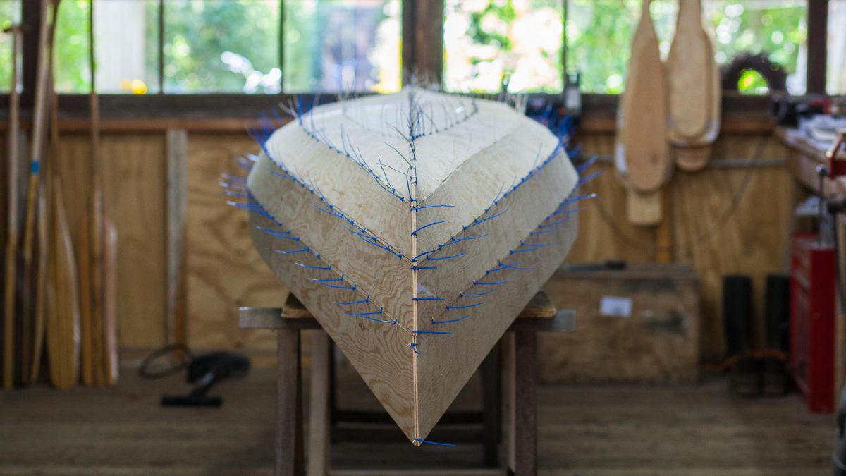 canoe building course stitch and glue construction
