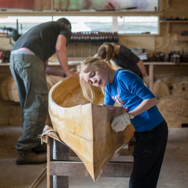 Freeranger Canoe group canoe building course stitch and glue construction