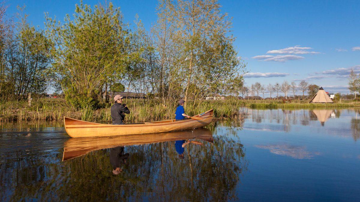 a beautiful wooden canoe handmade by Freeranger Canoe