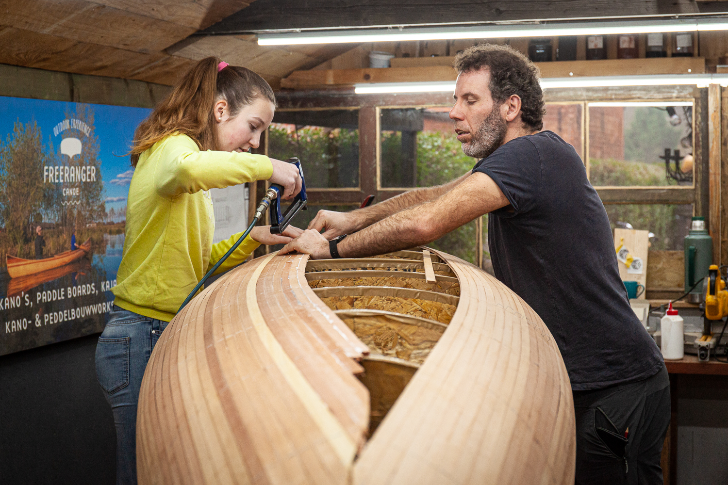 Workshop canoe building