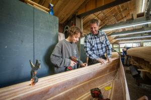 Workshop canoe building