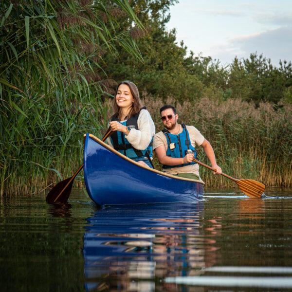 A pal all-round canoe on a lake
